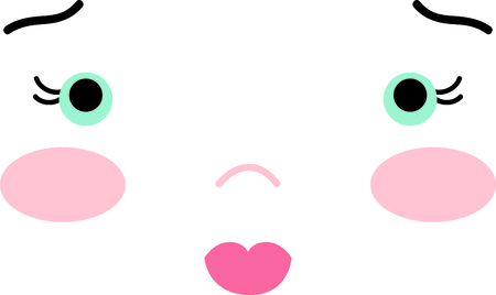cheeks: Cute girls face with colorful cheeks and a sweet expression.