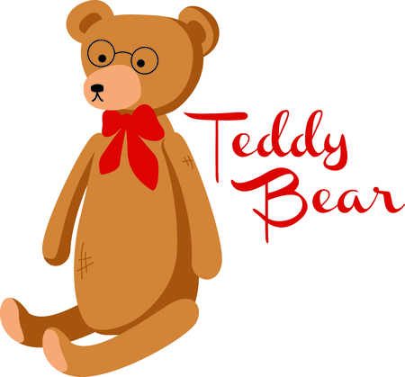 critter: Cute teddy bear with a red bowtie and round glasses. This toy design is perfect for a child or baby.