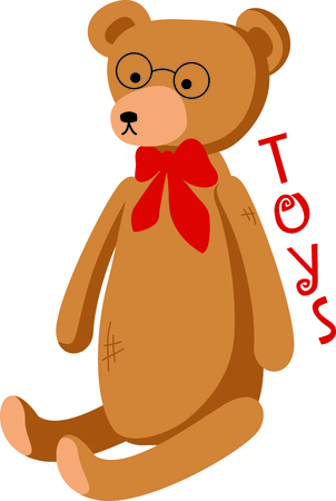 cubby: Cute teddy bear with a red bowtie and round glasses. This toy design is perfect for a child or baby.