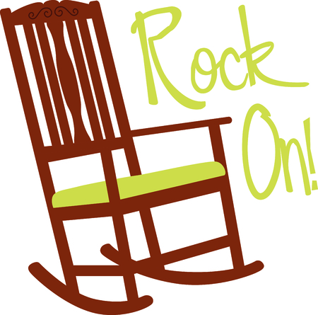 rocking chair: Wooden rocking chair with a green cushion. A perfect design for a new baby or a grandmother.