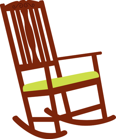 Wooden rocking chair with a green cushion. A perfect design for a new baby or a grandmother.