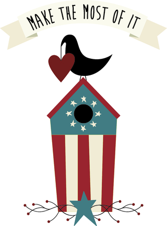 blackbird: Heart holding country blackbird on its patriotic birdhouse. A perfect design for home Independence Day decorating.
