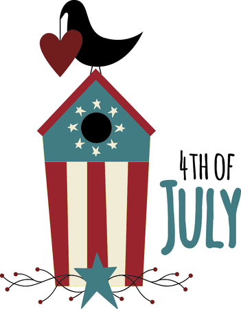thrush: Heart holding country blackbird on its patriotic birdhouse. A perfect design for home Independence Day decorating.