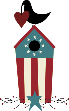 Heart holding country blackbird on its patriotic birdhouse. A perfect design for home Independence Day decorating.