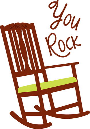 rocking: Wooden rocking chair with a green cushion. A perfect design for a new baby or a grandmother.