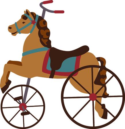 driewieler: Carrousel paard driewieler voor het kind of antieke verzamelaar. Stock Illustratie