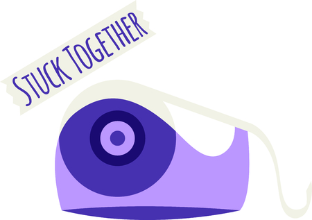 scotch: Purple desktop tape dispenser for office and school supplies. Use this stuck phrase for Valentines Day. Illustration