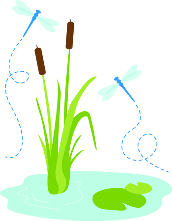 cattail: Use this image of a garden dragonfly in your next spring design.