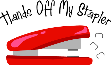 metal fastener: Red stapler with funny saying for your office or school desktop.