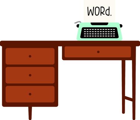 m�quina de escribir vieja: M�quina de escribir manual sobre un escritorio de madera. Escriba un coraz�n cubierto carta de amor de San Valent�n. Vectores