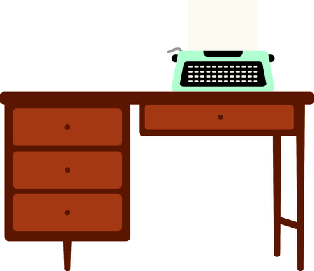 Manual typewriter on a wooden desk. Type a heart covered love letter for a Valentine. Illustration