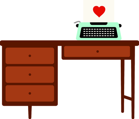 typing machine: Manual typewriter on a wooden desk. Type a heart covered love letter for a Valentine. Illustration
