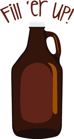 cerveza: Brown glass jug with a blank space for a personalized message.