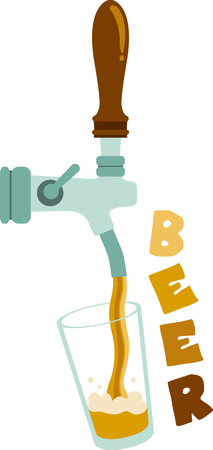 pint: A bar tap pouring a pint of beer. Illustration