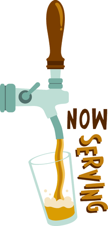 draught: A bar tap pouring a pint of beer. Illustration