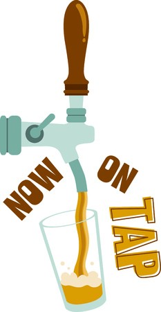 cerveza: A bar tap pouring a pint of beer. Illustration