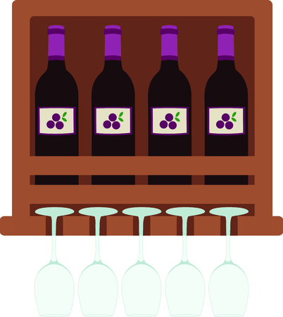 Wine bottle shelf and glass rack for a bar. Ilustração