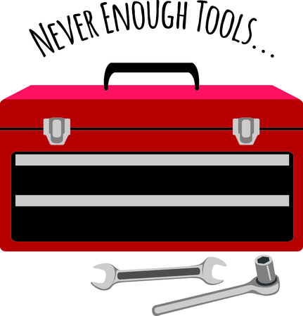 Toolbox with wrench and socket wrench for mechanics and handymen. Illusztráció