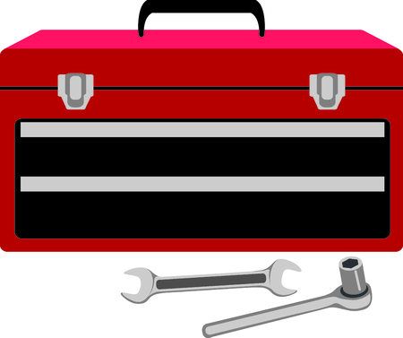 Toolbox with wrench and socket wrench for mechanics and handymen. Stock Illustratie