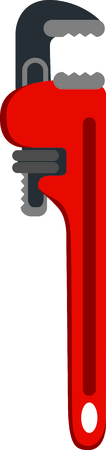 laborer: Red pipe wrench for the plumber or handyman.