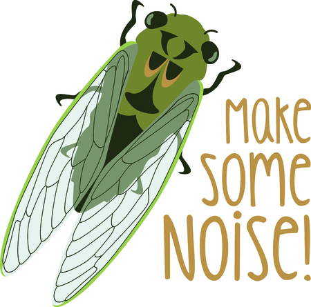 cicada bug: Use this image of a Cicadas in your next spring design Illustration
