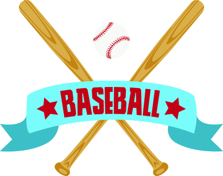 This classy baseball banner features two crossed bats and a baseball.  It would fantastic to use to personalize your favorite baseball jacket.