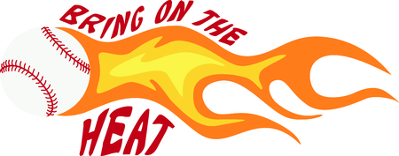 flaming: Talk about a fast pitch!  Decorate your baseball gear with this flaming hot baseball! Illustration