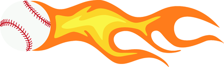pitch: Talk about a fast pitch!  Decorate your baseball gear with this flaming hot baseball! Illustration