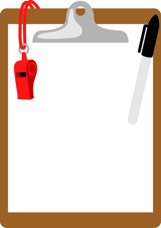 duffle: Heres what you need to coach the big game - clipboard, marker and whistle.  This would be great stitched onto your coach duffle bag. Illustration