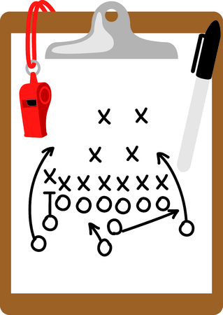 big game: Heres what you need to coach the big game - clipboard, marker and whistle.  This would be great stitched onto your coach duffle bag. Illustration
