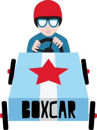 boxcar: Boys will love a race car. Illustration