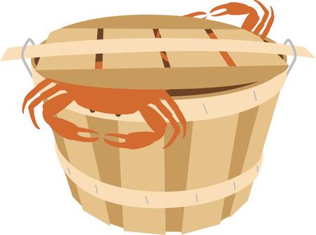 Gebruik deze krabton voor een maaltijd met zeevruchten. Stock Illustratie