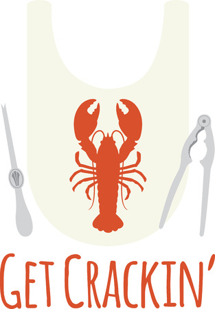 crustacean: Use this bib for a seafood meal. Illustration