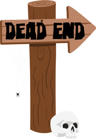 dead end: Decorate for Halloween with a spooky skull. Illustration