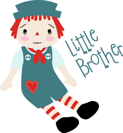 poppet: Raggedy Andy baby doll with a heart on his jumper suit. This little brother design would be great for parents and siblings. Illustration