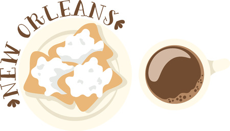 orleans: Use this beignet design for your New Orleans cousins. Illustration