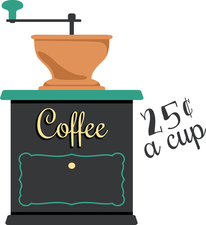 grinder: Use this coffee grinder for a fun shirt logo.