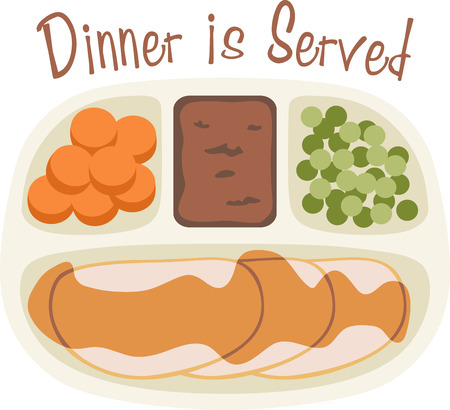 Make a tv dinner a fun meal with this meal in a tray. Иллюстрация