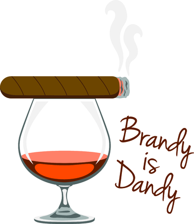 Use this cigar and cognac design for your smoking project. Иллюстрация