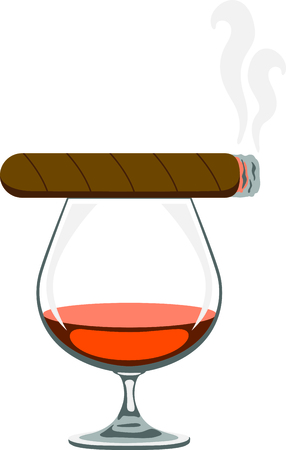 brandy: Use this cigar and cognac design for your smoking project. Illustration
