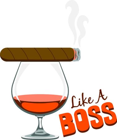 Utilice este cigarro y el diseño de coñac para su proyecto de fumar. Foto de archivo - 43868976