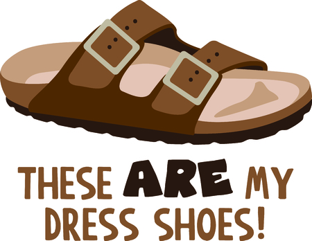 Illustrations of a brown sandal with text