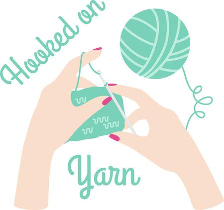좋아하는 프로젝트에서 바느질하는 손 편물.