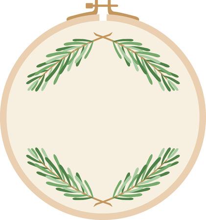 pine needle: Hand embroiderers hoop with pine needle illustrations Illustration