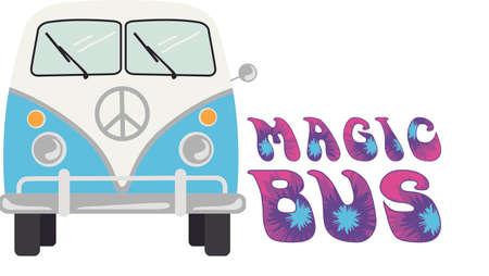 omnibus: Mini van illustrations.