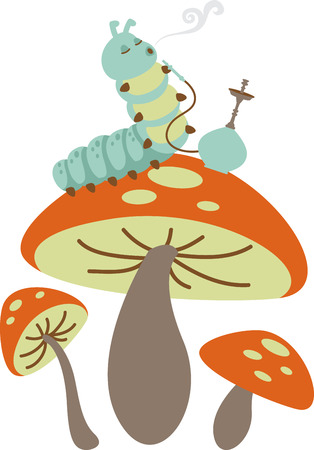 Caterpillar smoking from a hookah and sitting on a mushroom. Illustration