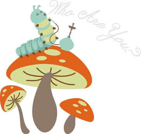 Caterpillar smoking from a hookah and sitting on a mushroom. 일러스트