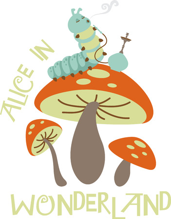 Caterpillar smoking from a hookah and sitting on a mushroom. Ilustrace