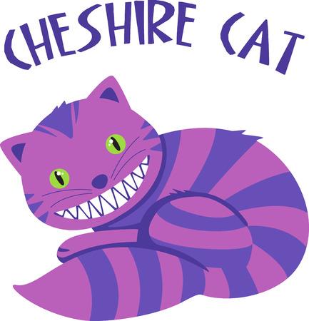 cheshire cat: Smiling striped cartoon cat.