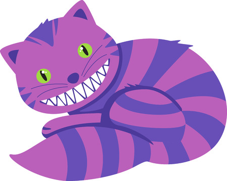 cheshire cat: Smiling striped cartoon cat.